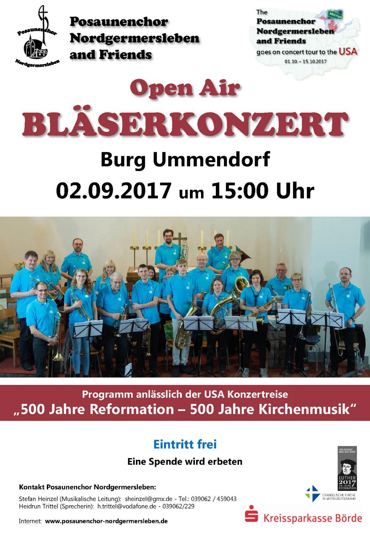 Open Air Konzert am 02.09.17, 15:00 Uhr  auf der Burg Ummendorf